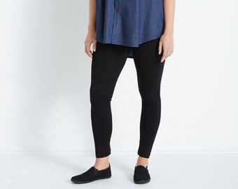 b5cb02b88e15d Black Viscose/ Spandex Footless Leggings