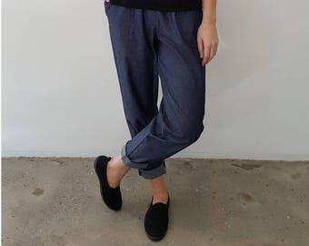 Chambray Cotton Pants with Drawstring Waist