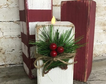 Rustic Christmas Candlesticks, Farmhouse Christmas Candles, Farmhouse Christmas  Decor, Primitive Christmas Candles, Fixer Upper, Cottage