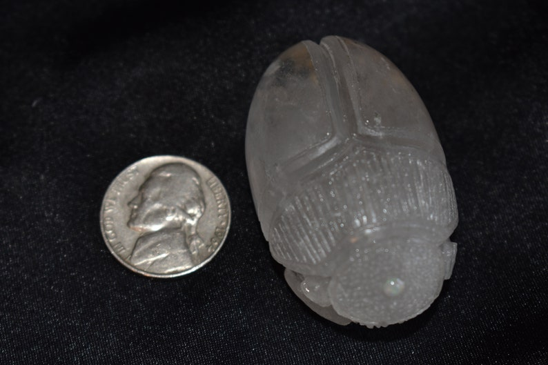 266ct Quartz Crystal Scarab with gold hieroglyphics and a 3mm Ethiopian opa