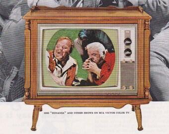 Bonanza Retro Technology Vintage Ad for RCA Victor Color TV