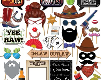 Cowboy Party Photo Booth Props Western Rodeo Wedding Birthday Fancy Dress