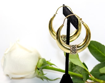 Large Crescent Hoop Earrings with Fine Wire Detail