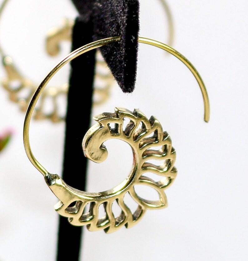 Small Brass Fanned Lotus Spiral Earrings