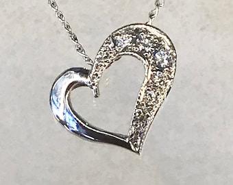 Elegant heart motif diamond pendant