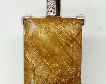 rutilated quarz & Diamond necklace