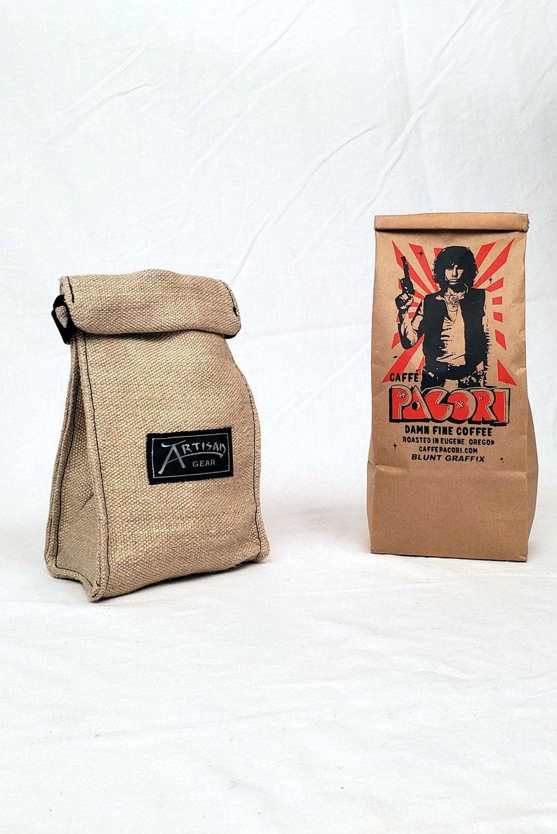 Reusable whole bean hemp coffee bag w/  1 lb Cafe Pacori image 0