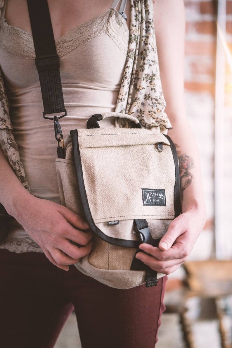 Hemp Canvas  Shoulder Bag & Backpack  The Omni Beige image 0