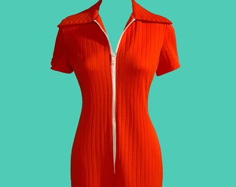 """2b85ff117fd 1960 s Vintage Vixen """"Prison Orange"""" Mod Jumpsuit Size L"""