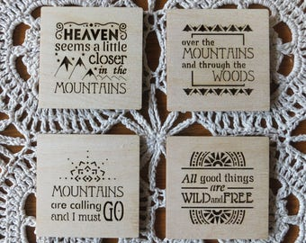Mountains Themed Wooden Magnets, lace fridge natural wood magnets kitchen mountain-lovers quotes, housewarming moving gift openwork eco