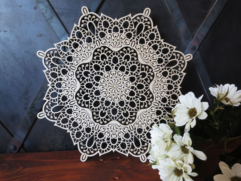 folk filigree lace wood gift ornament floral petals shadow woodland rustic Wooden Mandala with Little Hearts natural wall hanging rosette