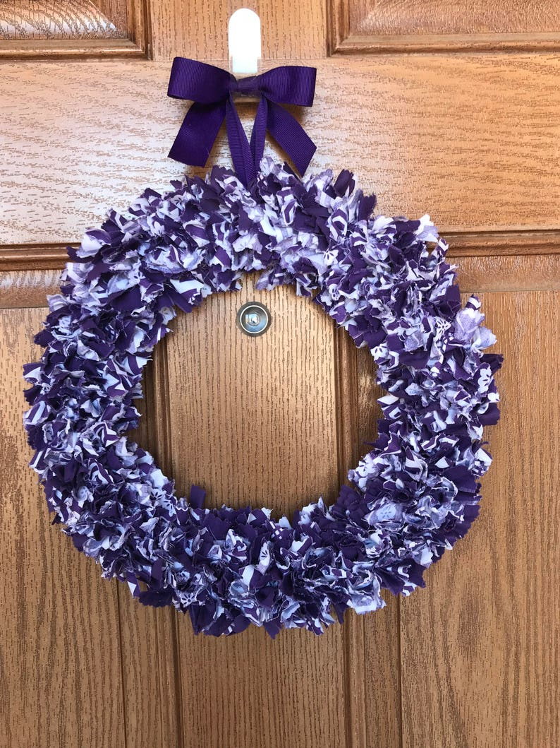 Purple Door Wreath Purple Fabric Wreath Purple Wreath For Etsy