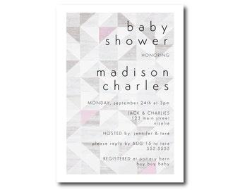 Geo Baby Shower Invitation, Geometric Baby Shower Invitation
