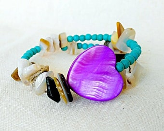 Women bracelet - Beads bracelet - Wedding - Jewelry - Wedding gift - Bracelets for women - Turquoise bracelet -Natural stones -Shell Jewelry