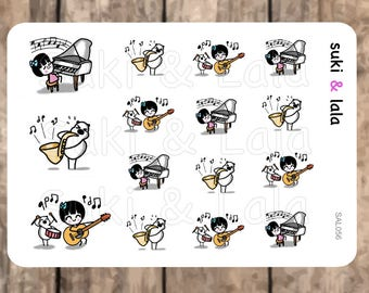 MUSIC Planner Stickers, Piano Planner Stickers, Saxophone Planner stickers, Guitar Planner Stickers, Drums Planner Stickers (SAL056)