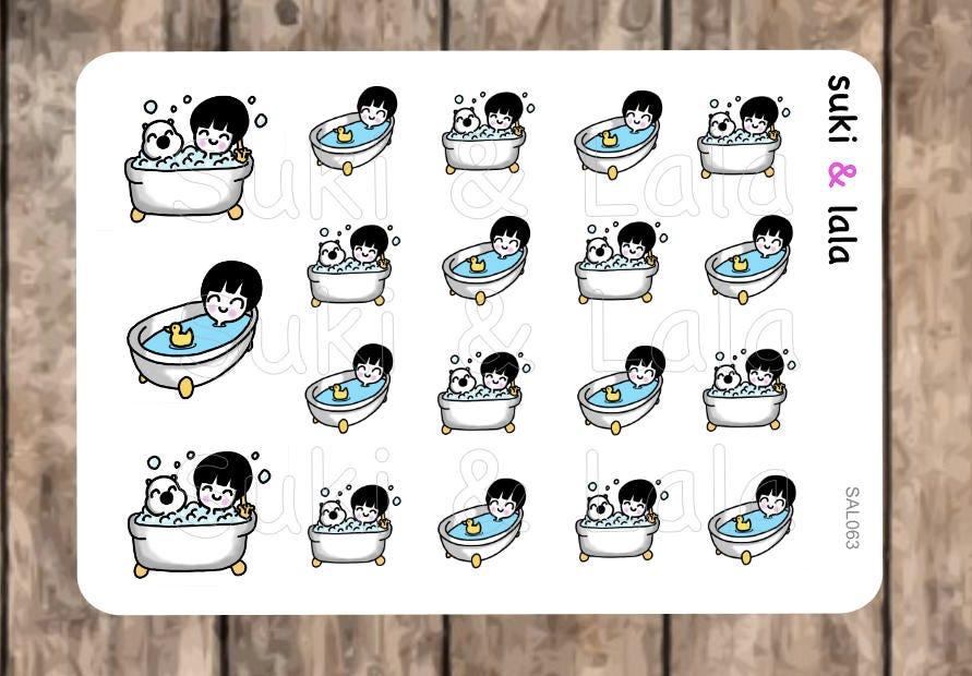 BATH stickers Tub Planner Stickers Kawaii Stickers Bathtub   Etsy