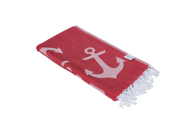 3bd4875afe882 Red and White Anchor Print Turkish Towel Nautical Marine Thin | Etsy