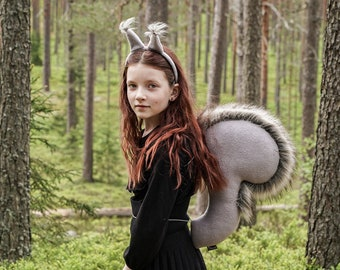 Squirrel Tail and Headband for Kids - Squirrel Costume - Handmade costume - Halloween costume