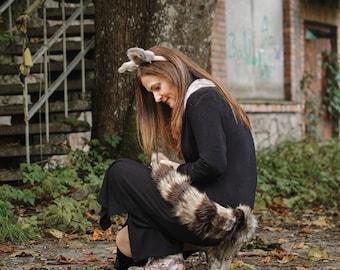 Raccoon Tail and Headband - Kids Costume - Adult Costume - Animal Costume - Halloween Costume