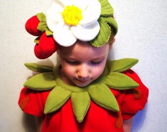 Strawberry girl costume / Kids strawberry Costume / strawberry dress up/ handmade costume / fruit costume/ Halloween costume