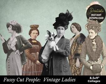 Vintage Digital Ephemera,Collage Sheet,Junk Journal Sheet,Women Collage,Ephemera Printable,Printable Fashion Collage, Fussy Cut