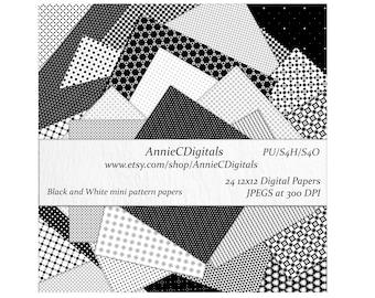 Digital Scrapbooking Paper, Black & White Mini Print