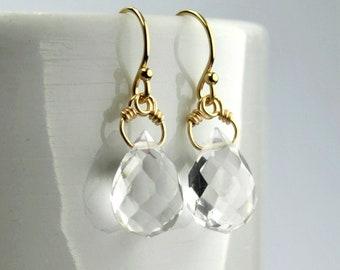 d94889dbcaa898 Aprile Birthstone orecchini, 14K oro riempito chiaro quarzo orecchini,  accessori Minimal, chiaro goccia orecchini per le donne, regalo per lei