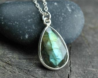 Labradorite necklace sterling silver, Blue green labradorite pendant, Labradorite jewelry, Small gemstone necklace, Unique gift for women