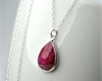 6f25b6182 Genuine Ruby Necklace on Delicate Sterling Silver Chain