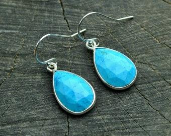 Genuine Turquoise Earrings Sterling Silver Turquoise Dangle Earrings Drop Earrings Blue Turquoise Teardrop Earrings Best gifts for her women