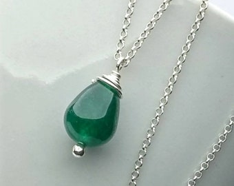 Forest Green Jade Necklace for Women, Green Drop Necklace, Delicate Sterling Silver Chain, Jade Pendant, Jade Jewelry, Gift for her KN523