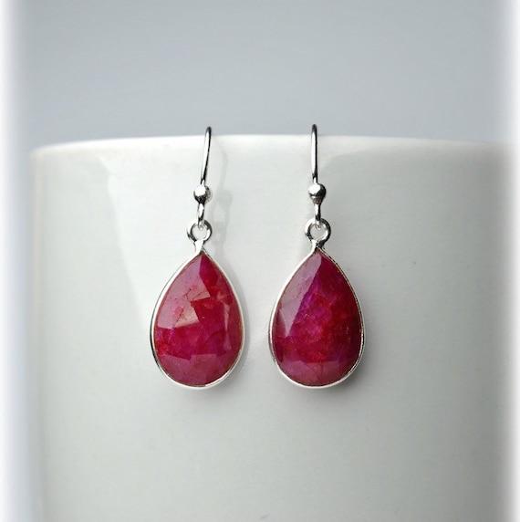 red earrings Genuine ruby earrings 925 silver plated women/'s earrings gemstone earrings