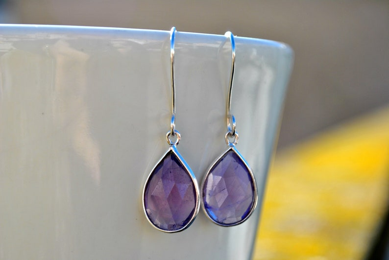 Genuine Amethyst Earrings Dangle Sterling Silver Purple Drop image 1