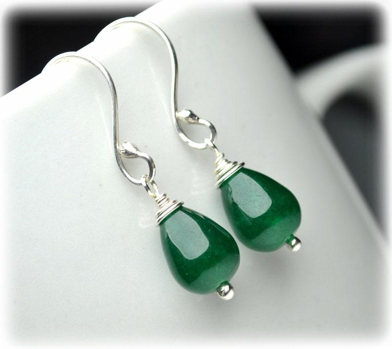Green Jade Earrings Sterling Silver \u2022 Small Drop Earrings \u2022 Simple Dangle Earrings for Everyday Wear \u2022 Nature Jewelry Gifts for Women KE717