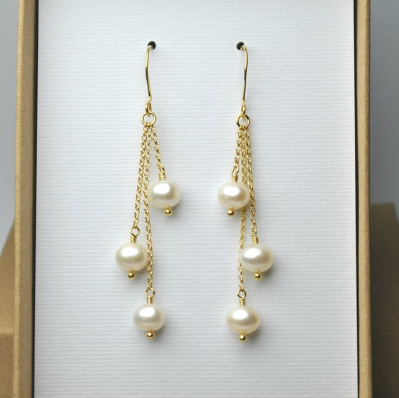 Gold Pearl Earrings Real Freshwater Pearl Jewelry Pearl Etsy