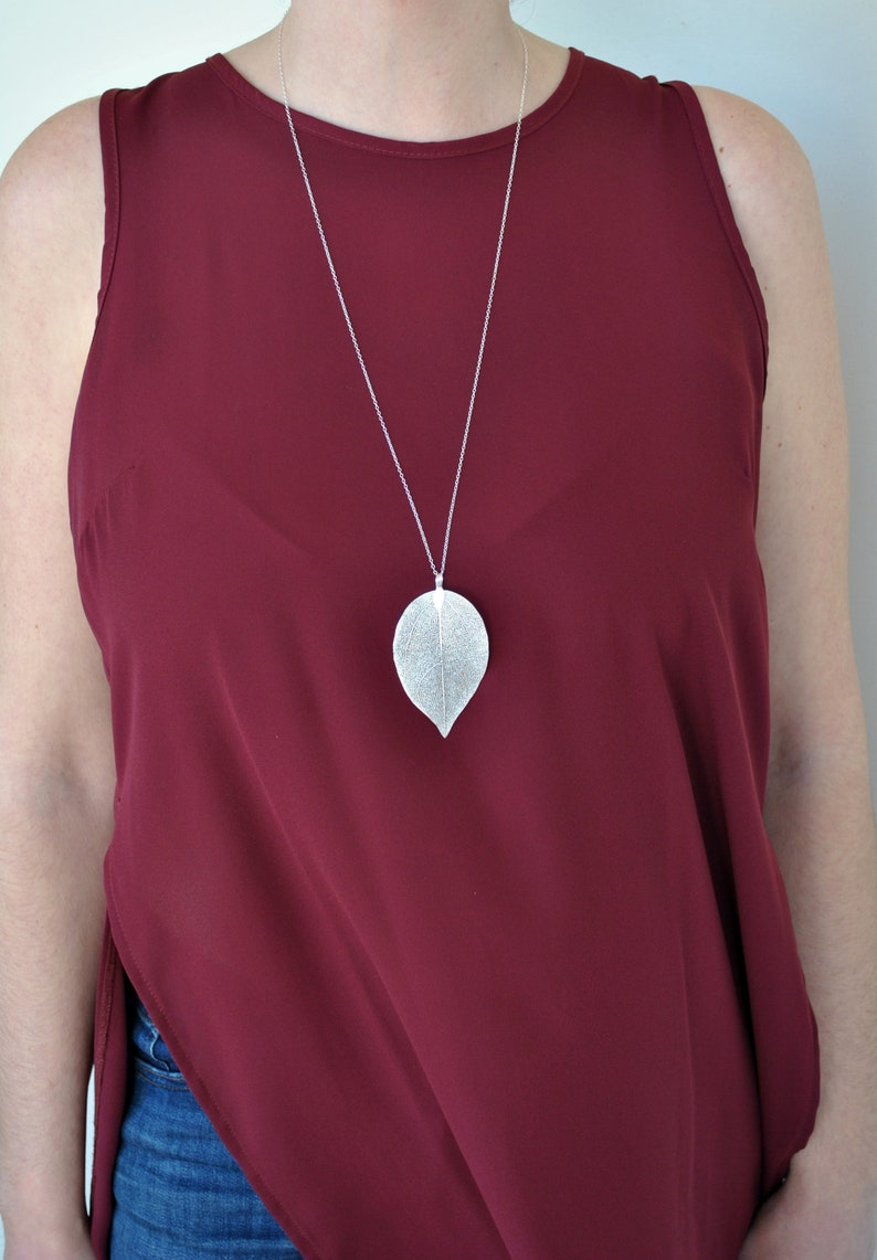 Real Leaf Necklace Sterling Silver Chain Long Boho Necklace image 0