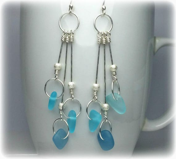 Vintage Sea Glass Beads Turquoise and Silver Turquoise Glass Earrings