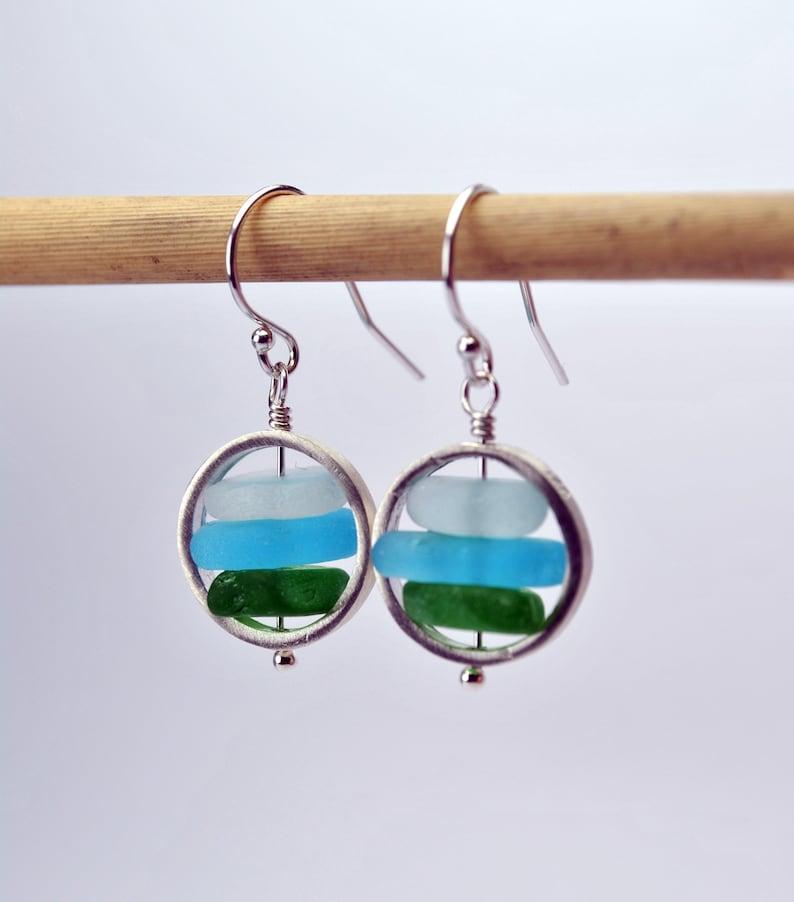 Genuine Sea Glass Earrings Dainty Beach Earrings Real Sea image 0
