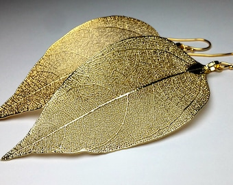 Real leaf earrings, 24K Gold leaf earrings, Veined leaves, Natural jewelry, Gold statement earrings, Wedding jewelry, Unique gift for women