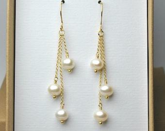 Real pearl earrings, 14k gold filled dangle earrings pearl jewelry freshwater pearl drop earrings gift for women gift for her KE722