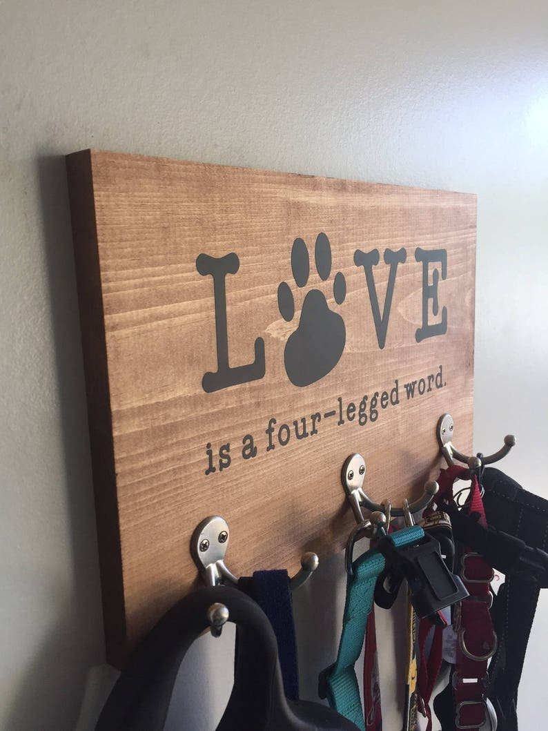 Love is a four-legged word Dog Leash Holder Love is a four-legged word Dog Leash Hanger  Dog Leash Holder  Dog Leash Hanger