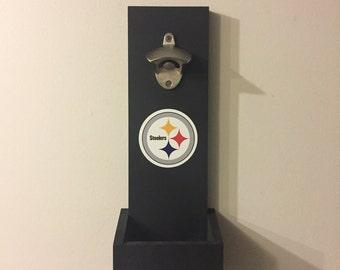 Pittsburgh Steelers Hanging Bottle Opener, Wall Mounted Bottle Opener, Steelers Gift, Man Cave