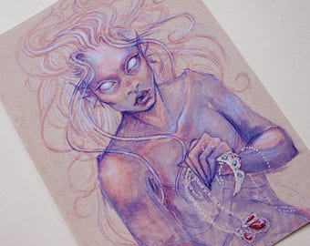Purple Mermaid - A5 Giclée Print