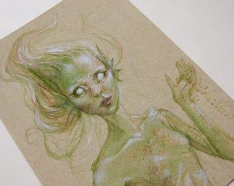Green Mermaid - A5 Giclée Print