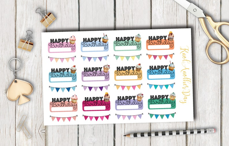 Happy Birthday Name Box And Banner For All Planners Functional And Decorative Stickers By Knotanotherday