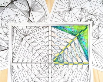 5 Geometric Coloring Pages - JPG