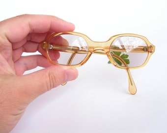 633656bd4c Rare vintage children s glasses Frame plastic Small reading glasses for  children Glass lenses with diopters Retro brown eyewear Optyl