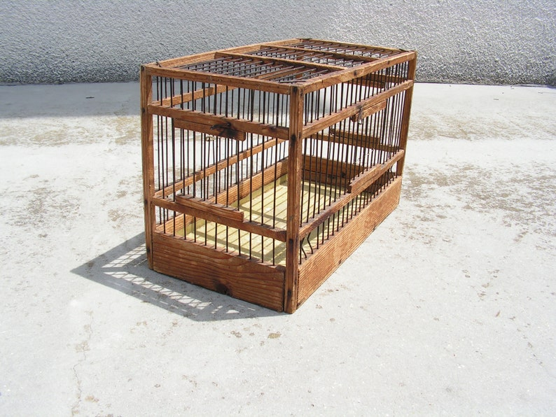 Antique wooden cage, Bird cage with three doors, Hand made cage, Can be  placed on wall, Bird wood house, Fermhouse garden decor