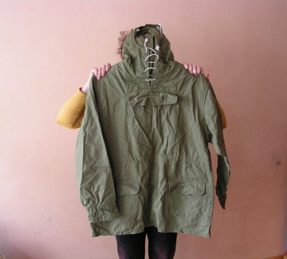Green canvas anorak Survival parka Anorak with poc