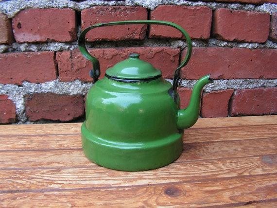 Retro Tabak Keukens : Retro groen emaille theepot 50s groen emaille ketel vintage etsy